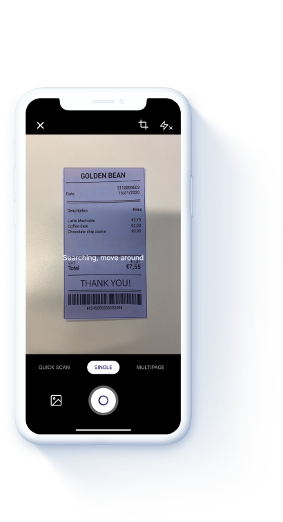 Rydoo app phone scan receipt