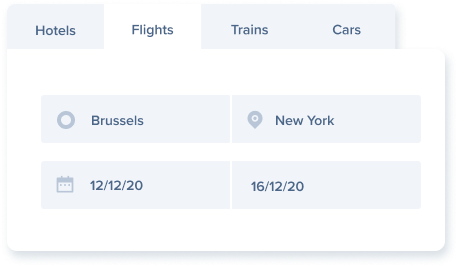 Choose between Hotels, Flights, Trains and Cars