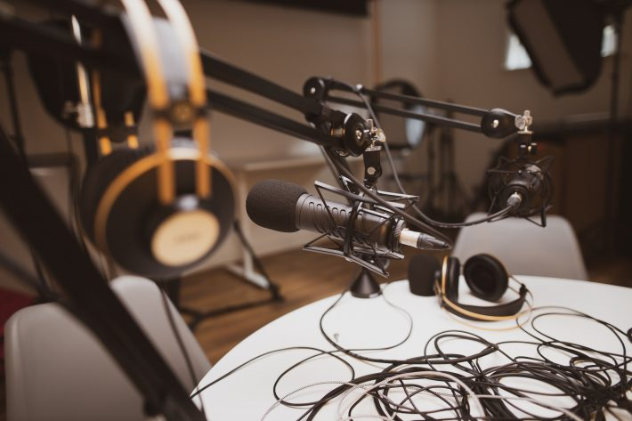 A studio where a finance podcast was recorded live