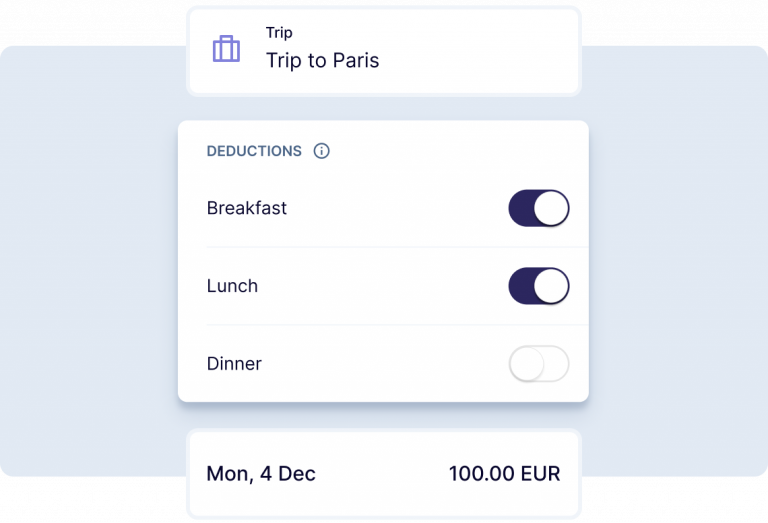 Deductions for a Trip to Paris on Breakfast, lunch and dinner