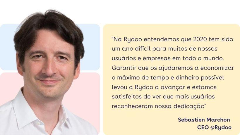 """Sebastien Marchon: """"Na Rydoo entendemos que 2020 tem sido um ano difícil para muitos de nossos usuários e empresas em todo o mundo. Garantir que os ajudaremos a economizar o máximo de tempo e dinheiro possível levou a Rydoo a avançar e estamos satisfeitos de ver que mais usuários reconheceram nossa dedicação""""."""
