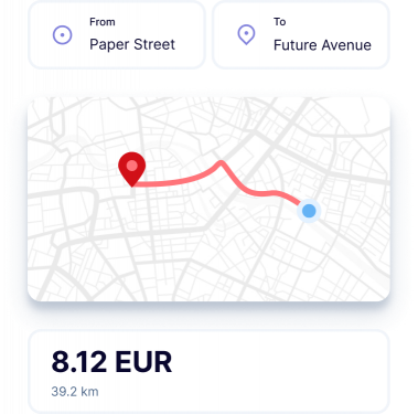 Mileage expenses illustration showing the value of 8.12EURwith a map
